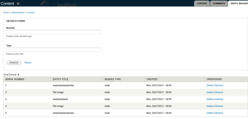 Screenshot of entity backup module