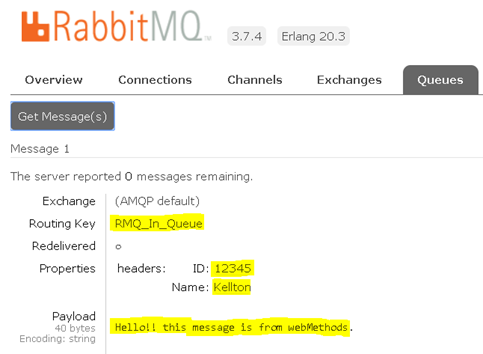 RabbitMQ Webmethods Integration Message