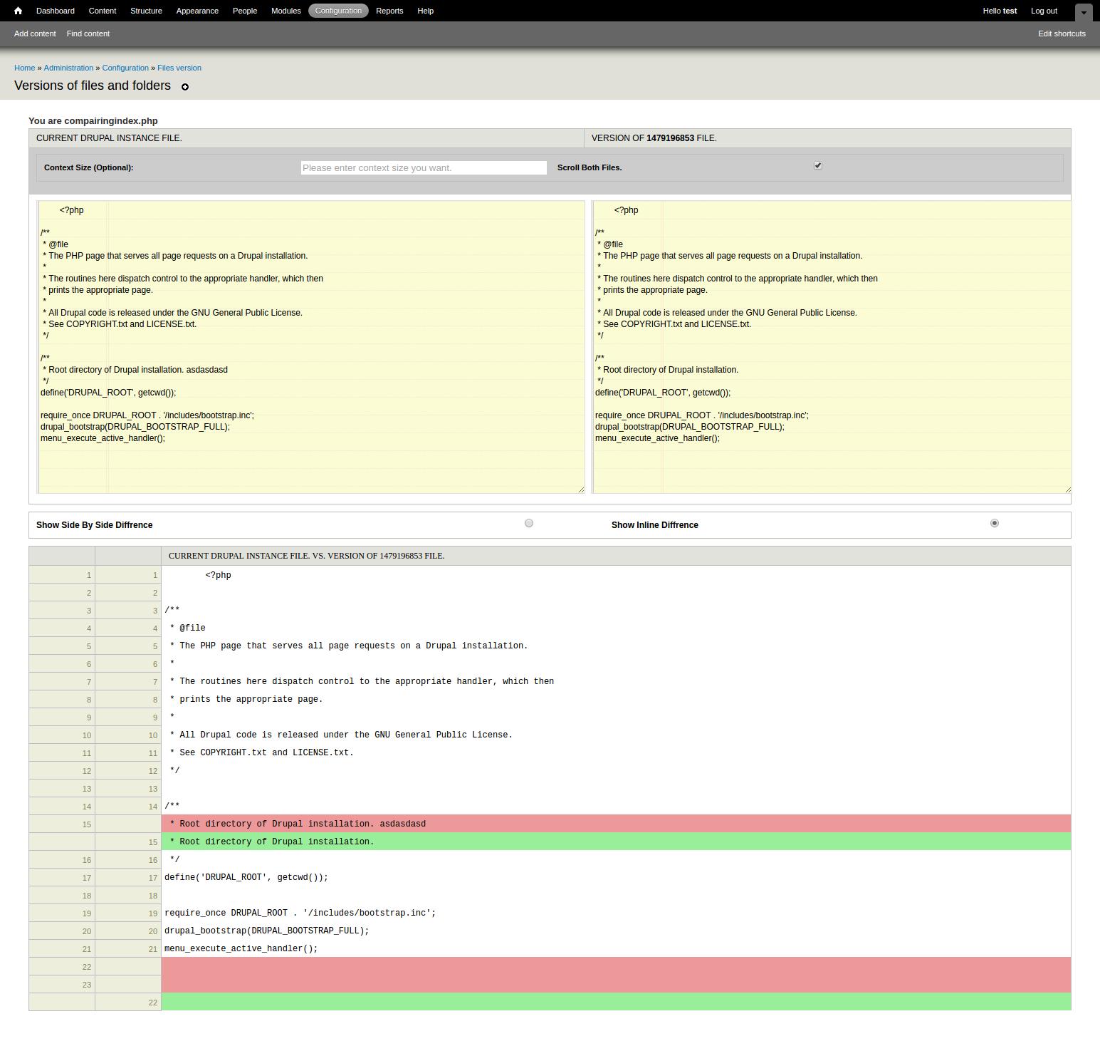 Drupal module screenshot